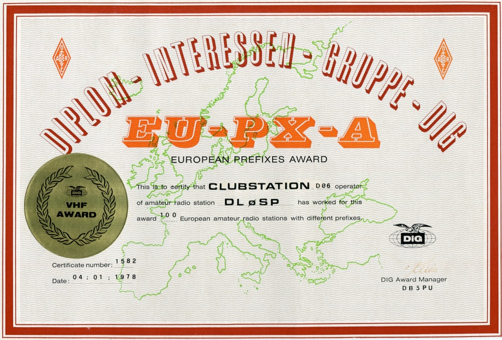 European Prefixes Award 1978 VHF